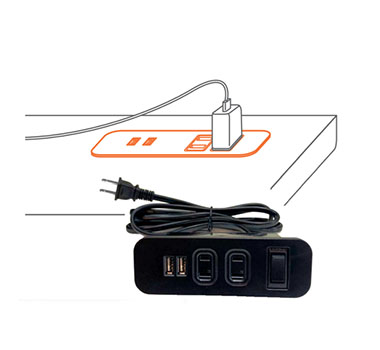 ST-064 2 AC SOCKET + 2 USB 3.1A FOR CHARGING WITH OVERCURRENT PROTECTION SWITCH